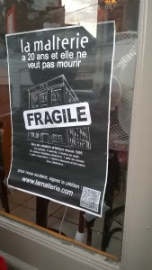 poster protesting the possible closure of La Malterie, an arts venue
