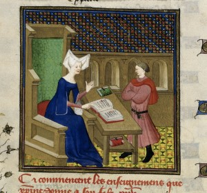 Christine de Pizan giving instructions, from the Book of the Queen, France (Paris), c. 1410-1414, Harley MS 4431, f. 261v
